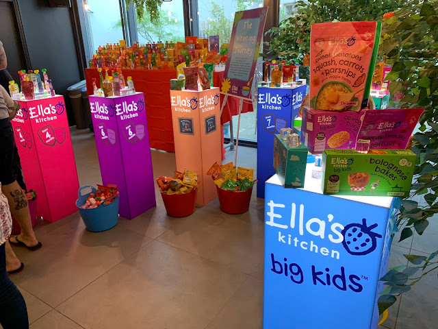 Light up displays showing samples of the Ella's Kitchen range for each age group from 4 months to Big Kids