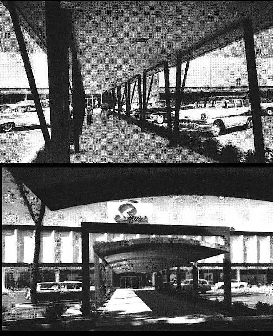 1958 shopping mall shade canopies photograph, Sears