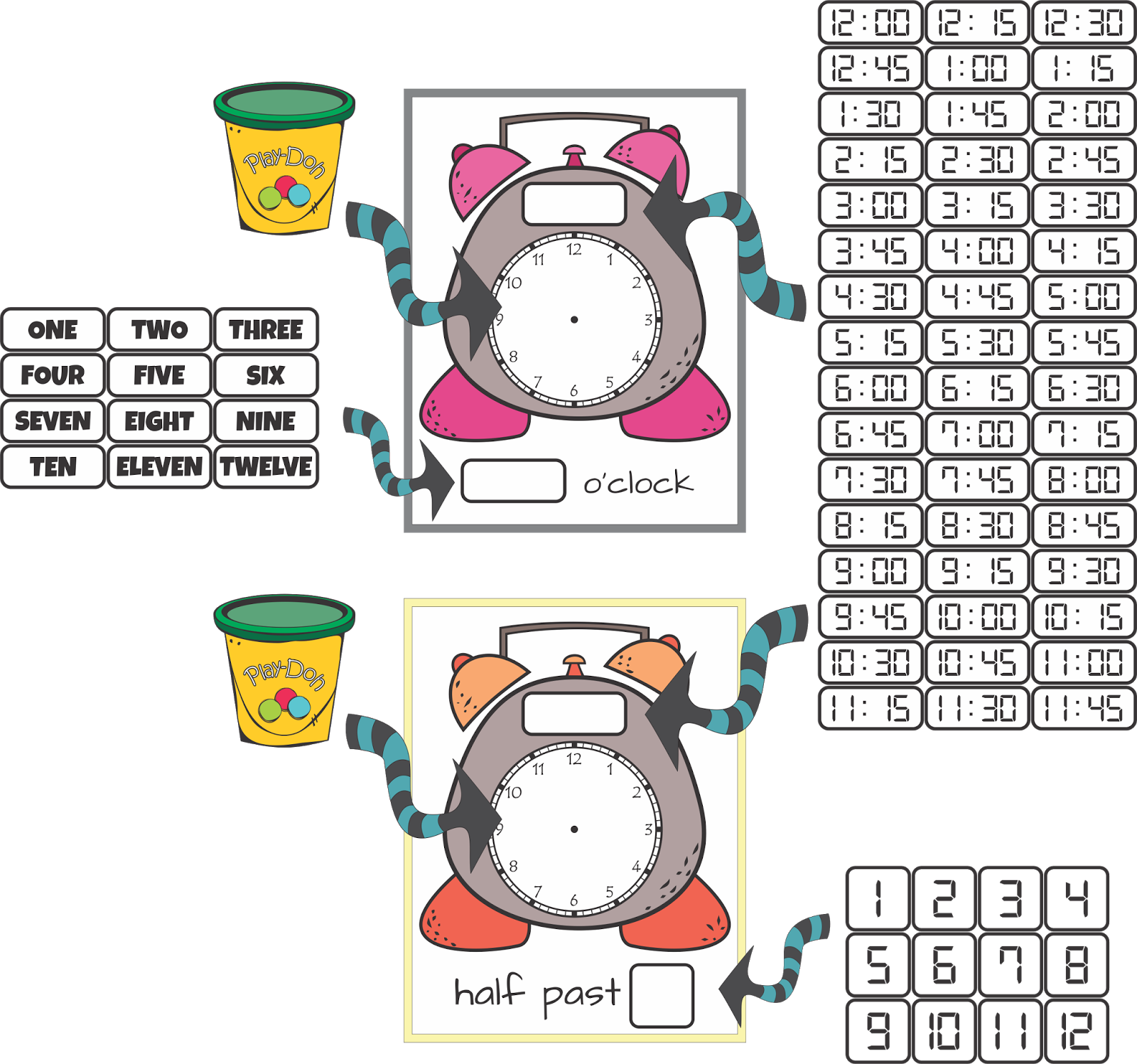 Telling Time By The Hour Half Hour Quarter Hour Ccss 1 B 3 And A Freebie