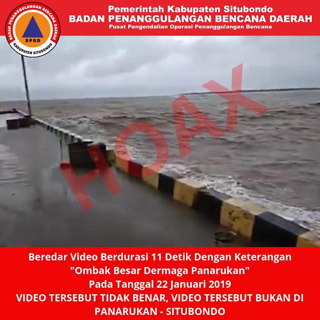 Beredar Video Gelombang Tinggi di Dermaga Penarukan, BPBD Situbondo Pastikan HOAX