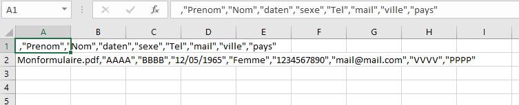 Données extraites du formulaire pdf vers Excel