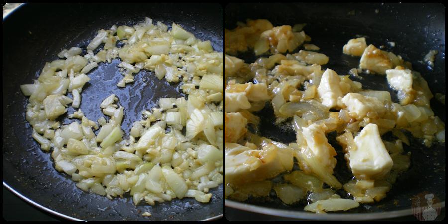 Salteado de ajos, cebolla y queso