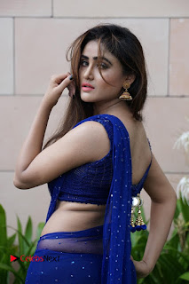 Actress Sony Charishta Pictures in Blue Saree at Deep Mela 2016 0017