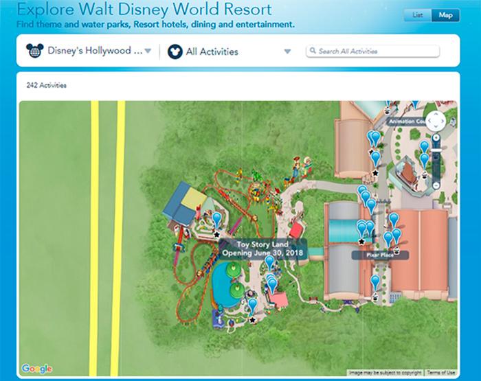 Mapa Toy Story Land