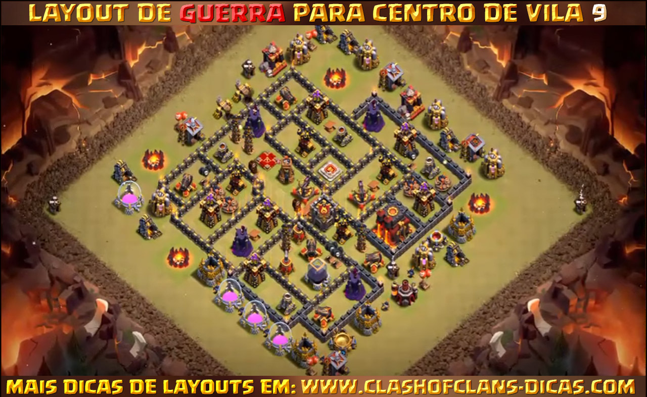 layouts th9 war base with bomb tower update - Layout Cv 4 Guerra