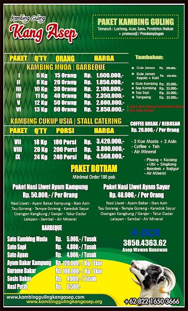 harga kambing guling kang asep bulan april 2019