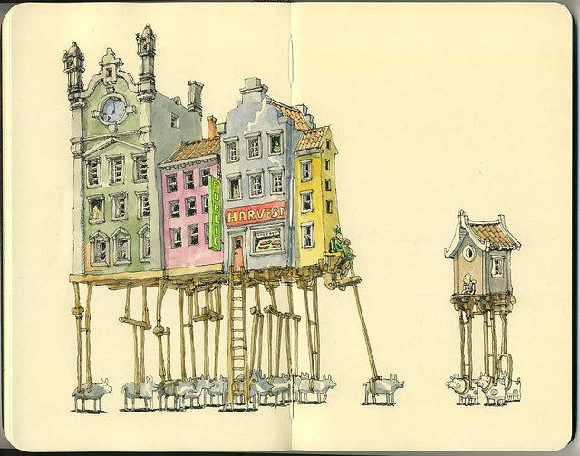 01-12-Horsepowers-Mattias-Adolfsson-Surreal-Architectural-Moleskine-Drawings-www-designstack-co