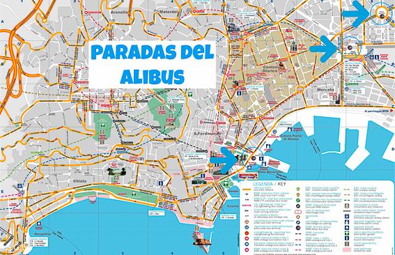 Paradas del Alibus en Napoles. Como ir desde el aeropuerto al centro