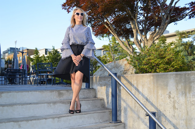 fall favorites: A line skirt and bell sleeve top