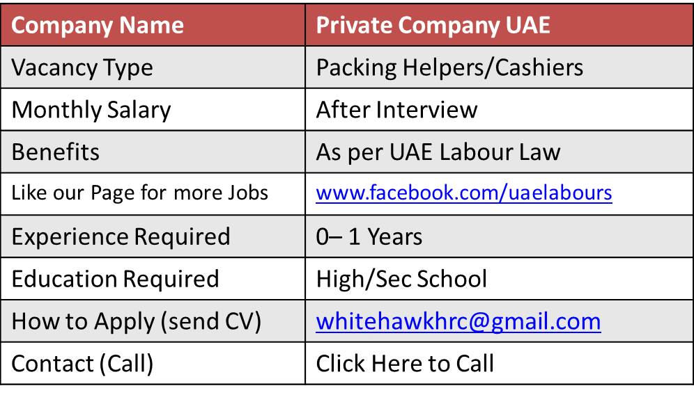 packing helper job in uae