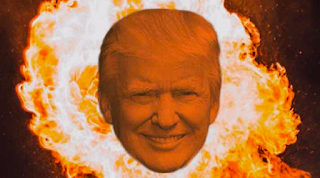 Photo of President Trump with fire burning in the background