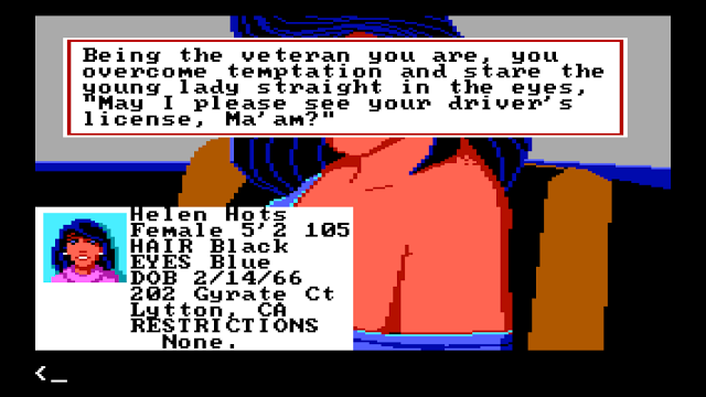 Screenshot from Police Quest AGI version