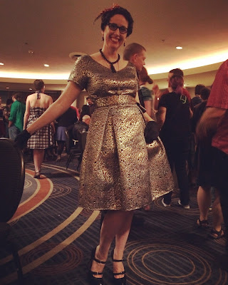 Gail Carriger in Retro Gold eShakti Concktail Dress with Tassel Jewelry