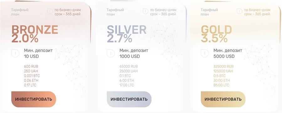 Инвестиционные планы Gold8
