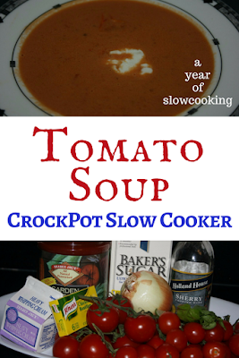 Restaurant Quality homemade tomato soup. Make it from scratch the easy way: vine ripened tomatoes, onion, tomato juice, sugar, etc. Yummy and delicious and velvety! Using your crockpot slow cooker makes this super family friendly.