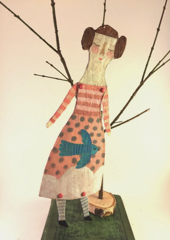 paper mache doll, Etsy, Sarah Hand, Hearts and Needles