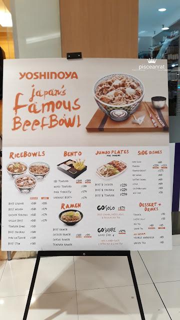 Yoshinoya Philippines' price list