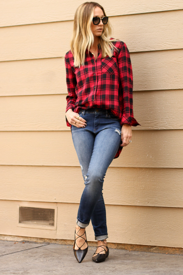 red plaid check tunic top parlor girl