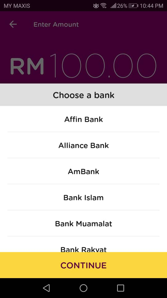 Top-up AEON Card: Choose a Bank