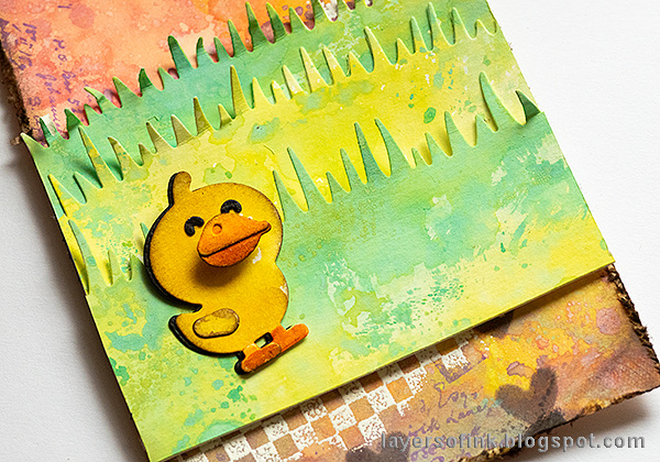 Layers of ink - Pastel Easter Tag Tutorial by Anna-Karin Evaldsson. Assemble the grass.