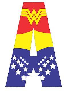 Abecedario con el Logo de la Mujer Maravilla. Wonder Woman Logo Abc.