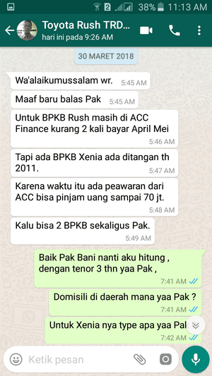 Customer Bapak Bani - Toyota Rush TRD - ACC Finance