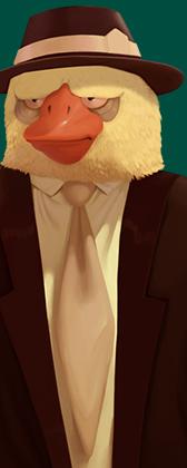 Un pájaro antropomorfo vestido de traje, sombrero y corbata.