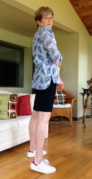 Tory Burch tunic, Burberry denim skirt, Stan Smith Adidas