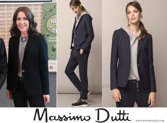 Crown princess mary wore Massimo Dutti Tiny Polka Dot Printed Jacket