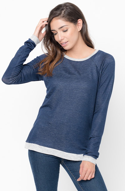 Shop for navy Color Block Two Tone Pullover Crew Neck @34$ On Caralase.com