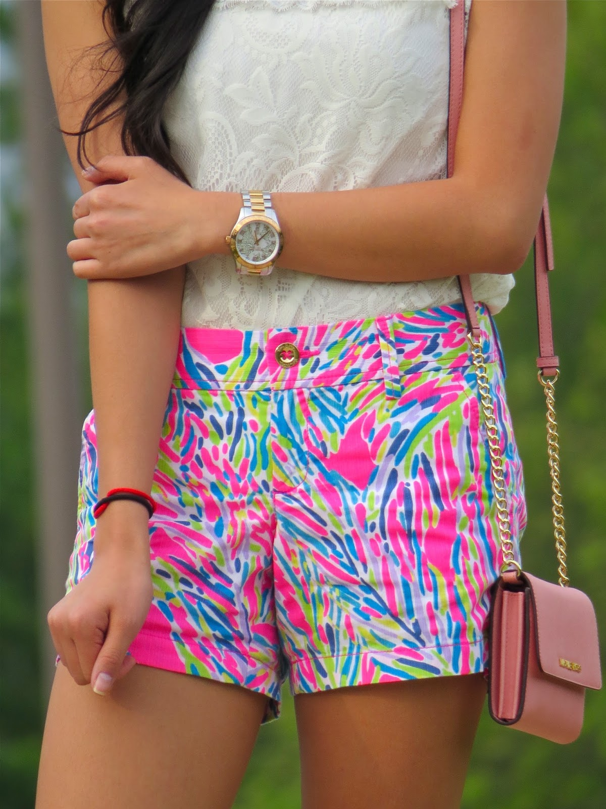Lace Top: Forever 21 (similar)  Shorts: Lilly Pulitzer (same Shorts,  Different Print)  Flats: Target  Purse: Michael Kors  Watch: Michael  Kors