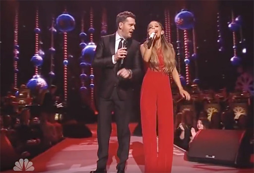 christmas music michael buble ariana grande santa claus is coming to town