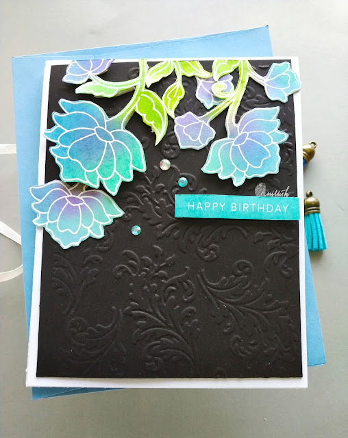 Mudra craft stamp  Persian floral stamps set card, cards by Ishani, Ink blending, distress inks, dry embossing, Embossing folder, Itsy bitsy stamps, floral card, Quillish, Birthday card, Card for her,