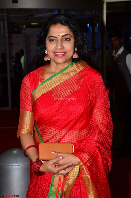 Suhasini in Designer dark Red Saree at 64th Jio Filmfare Awards South ~  Exclusive 001.JPG