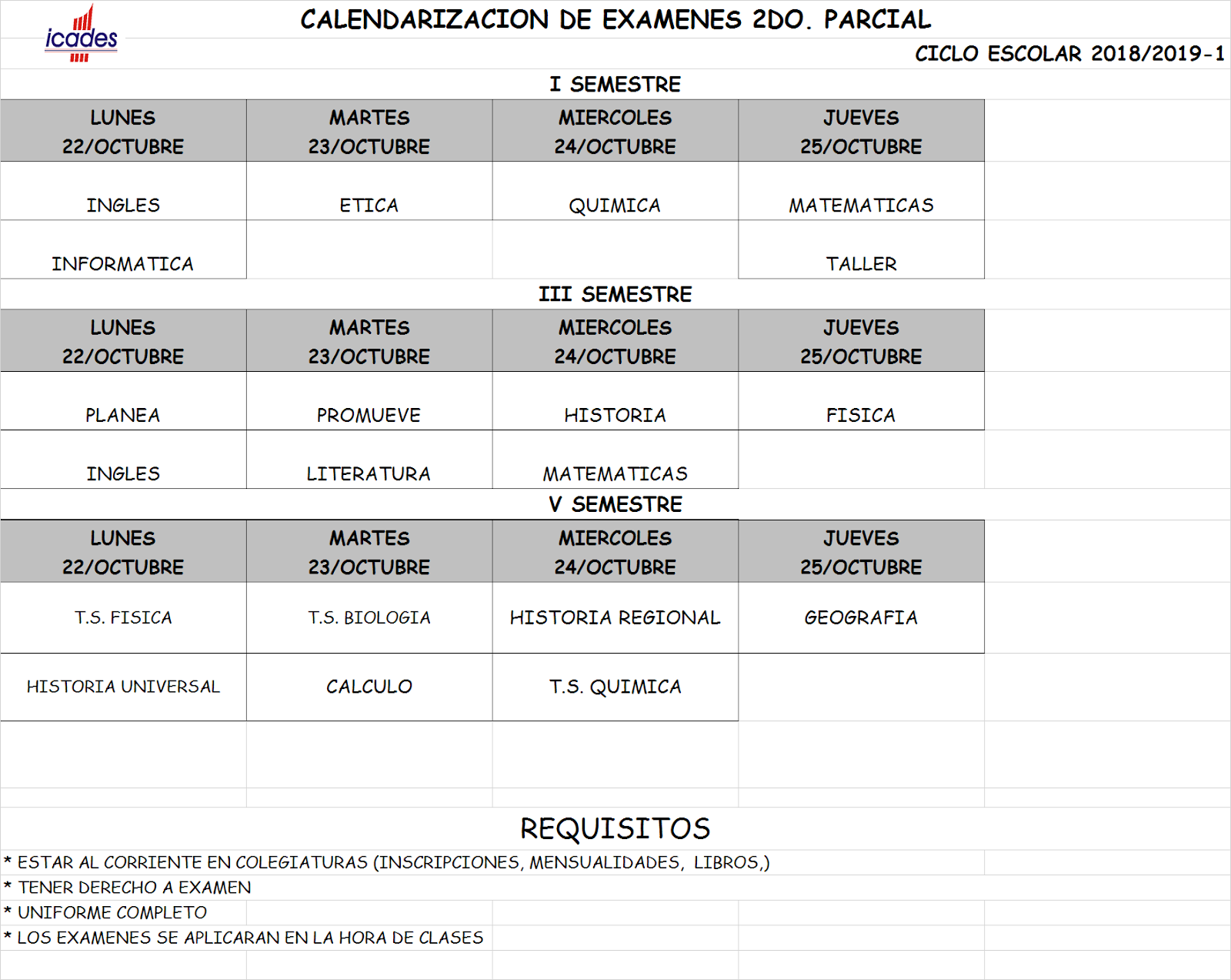 Calendario De Examenes.Informacion General Instituto Icades Calendario De Examenes