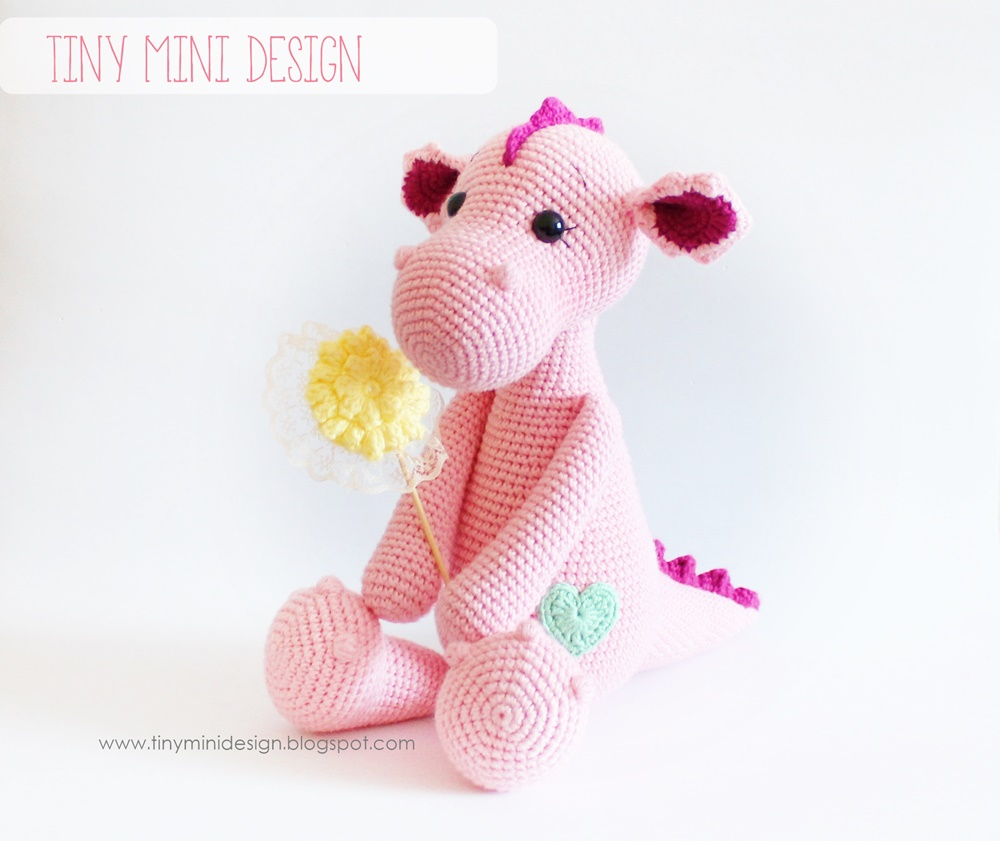 Amigurumi How To Change Color : Amigurumi Pink Dragon Tiny Mini Design