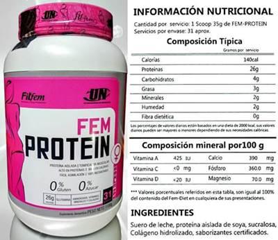 Tabla nutricional de la whey Fem protein de Fitfem