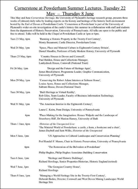 programme of Cornerstone Lectures at Powderham