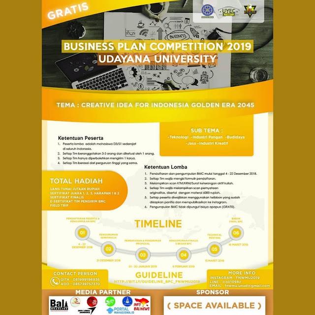 Lomba Business Plan Nasional 2019 Udayana Mahasiswa