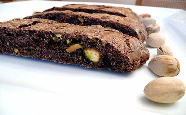 Three Chocolate Pistachio Biscotti Bars