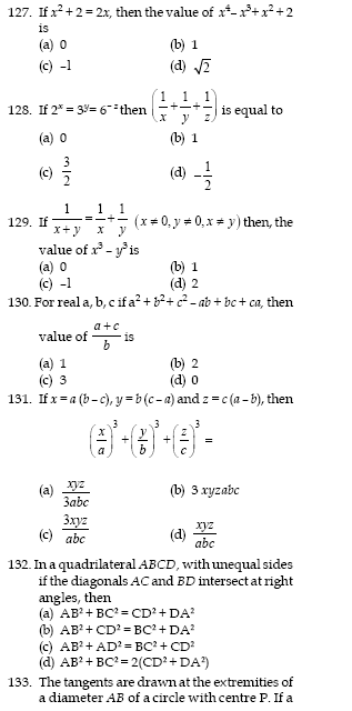 SSC sample maths Questions for 10+2 level