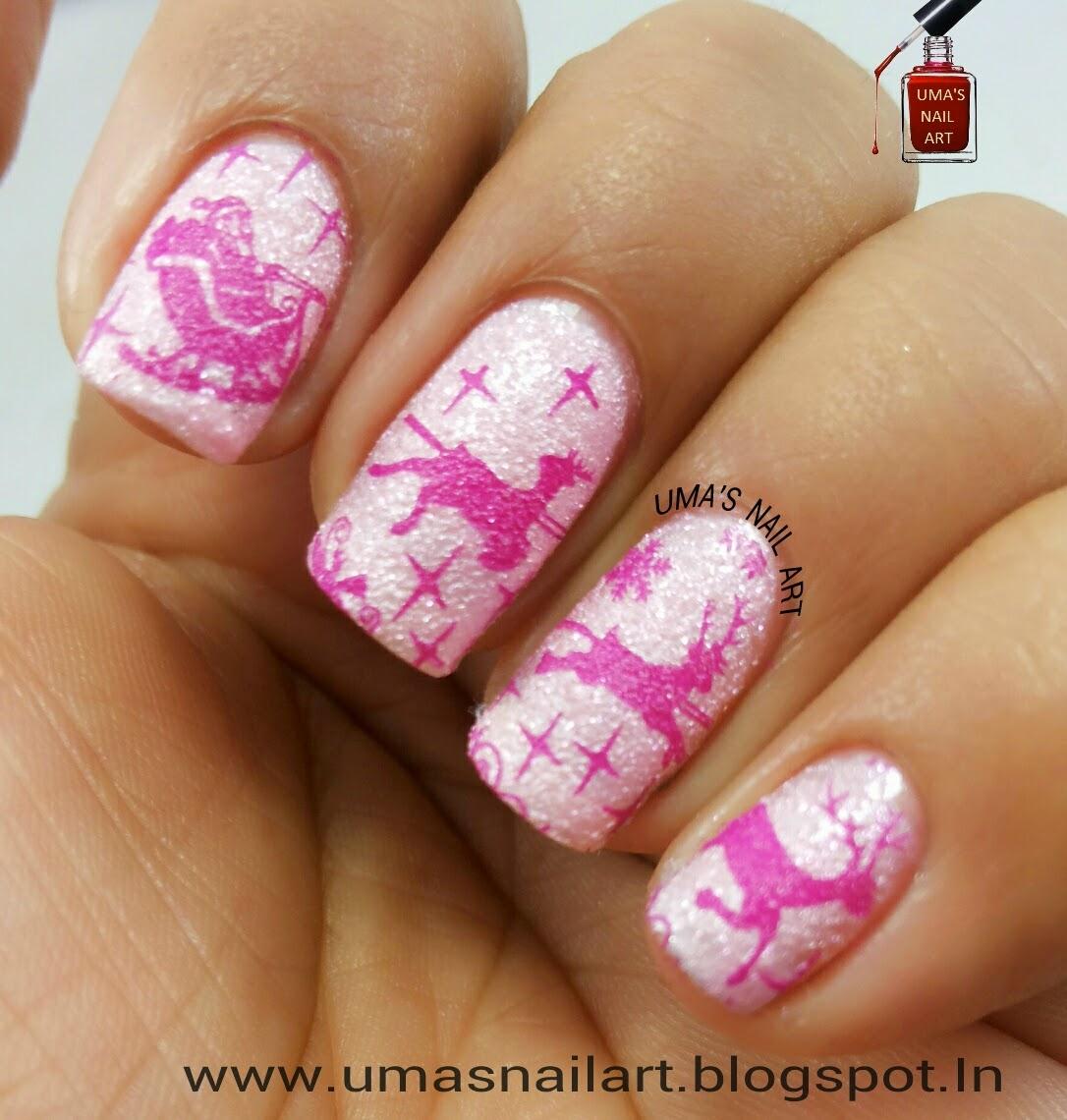 Uma's Nail Art: Pink Christmas Nail Art