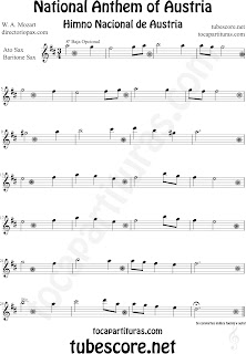 Partitura del Himno Nacional de Austria para Saxofón Alto y Sax Barítono National Anthem of Austria Sheet Music for Alto and Baritone Saxophone Music Scores Note der österreichischen Nationalhymne für Alt-Saxophon und Bariton Sax