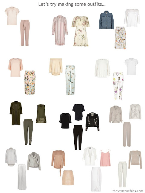 15 outfits taken from a recently decluttered wardrobe