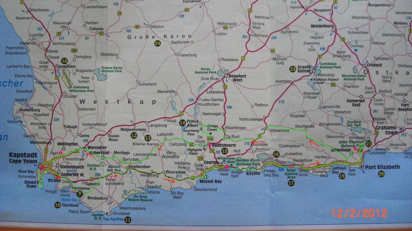 Karte Südafrika Garden Route.Südafrika 2012 Kapstadt Port Elizabeth Kapstadt