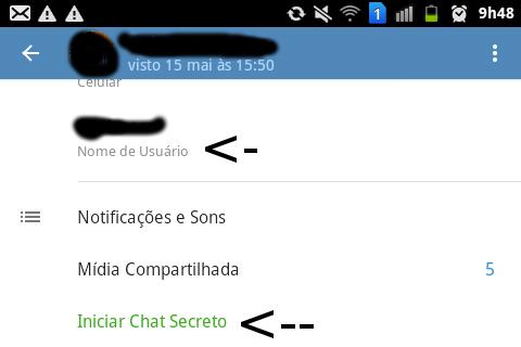 É desta forma que são criados os chats secretos (criptografados) no Telegram.