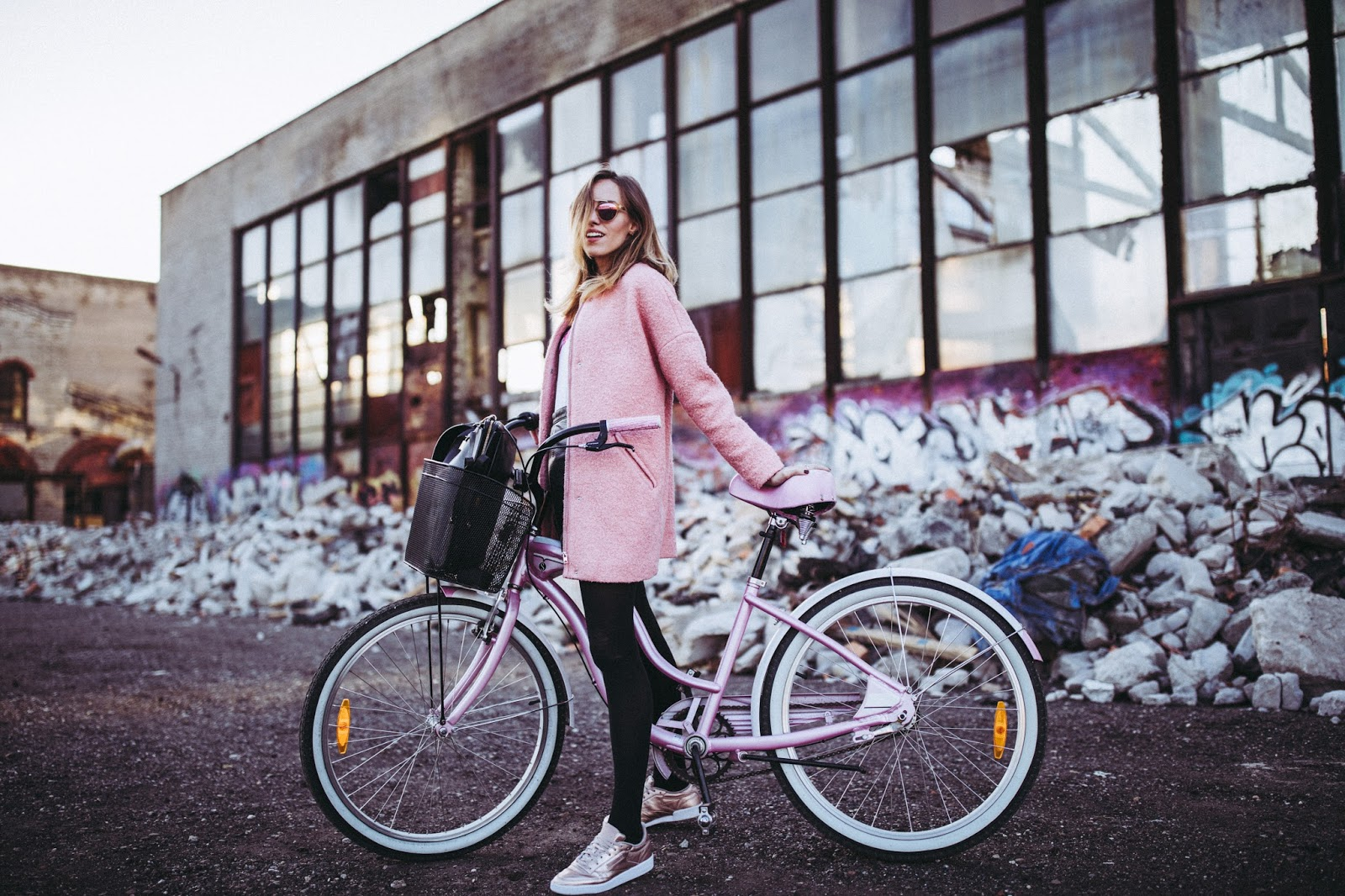 pink coat sneakers fall style