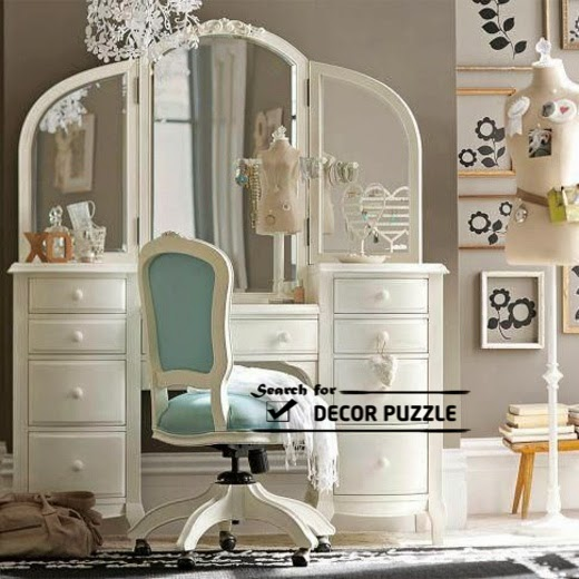 luxury wooden dressing table designs with movable chair