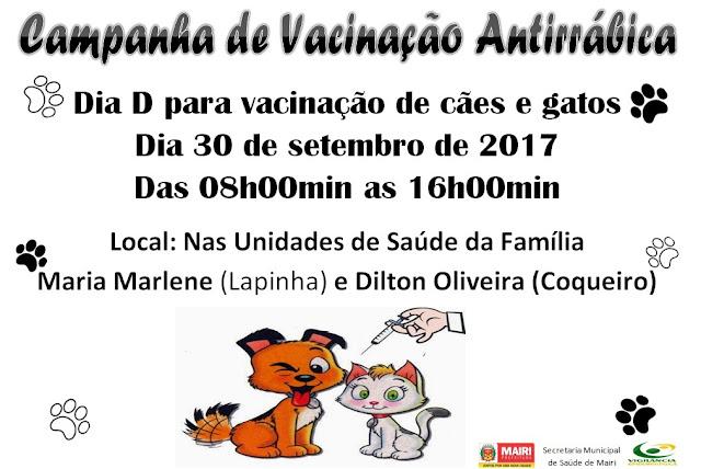 Vacine o seu cão e gato contra a raiva no próximo sábado, em Mairi
