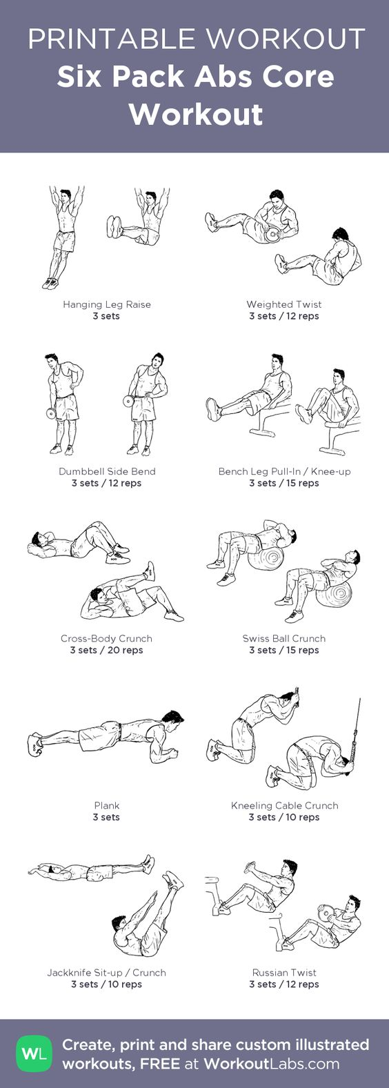 Printable Workout: Six Pack Abs Core Workout
